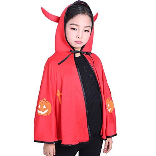 Cosanter Halloween Umhänge Kleiner Teufel Mäntel für Kinder Junge und Mädchen Make-up Party Kostüm Rot