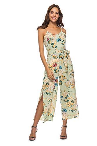 Damen Floral Backless Overall Strappy Sleeveless Split V-Ausschnitt Casual Gürtel Overall Sommer Lange Hosen Strampler Grün XL -