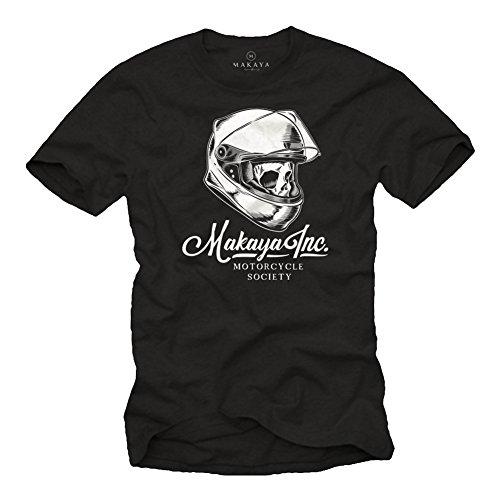 MAKAYA Camiseta Calavera con Casco Moto - Motorcycle Society - Accesorios Motocross...