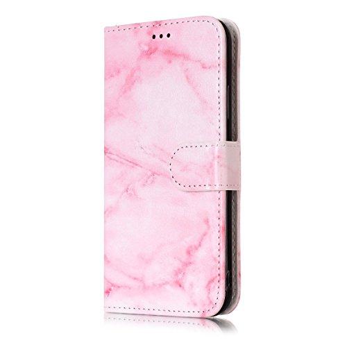 inShang Hülle für iPhone X 5.8 inch mit integriertem Brieftaschen-Design, iPhoneX 5.8inch cover case mit Standfunktion. pink marble