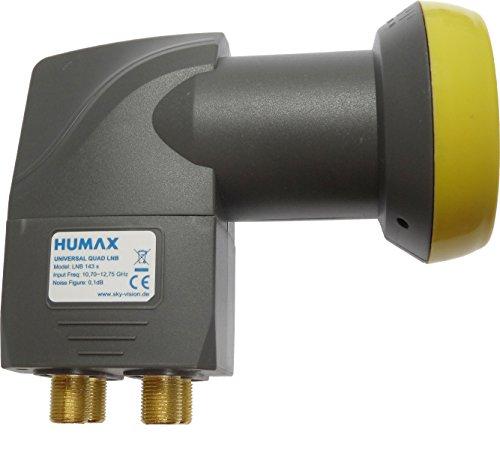 Humax LNB 143s Gold Quattro Switch LNB (0,1dB, 4 Teilnehmerausgänge, 40mm Feed, HDTV) mit eingebautem Multischalter