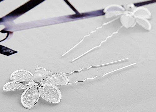 Skyllc® Moda femminile matrimonio nuziale bella perla fiore cristallo capelli Pin capelli clip 2pcs