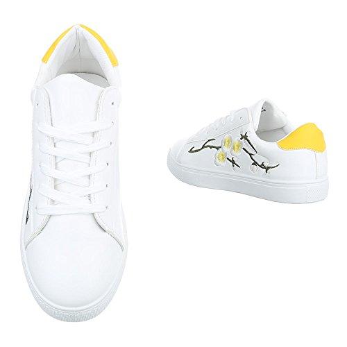 Ital-Design Sneakers Low Damenschuhe Sneakers Low Sneakers Schnürsenkel Freizeitschuhe Weiß Gelb 1340