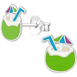 TATA GISELE © Boucles d'Oreilles Enfant en Argent 925/000 Rhodié, Epoxy - Noix de Coco Verte avec sa Paille Bleue et son Parasol Vert, Bleu et Violet - 8 mm