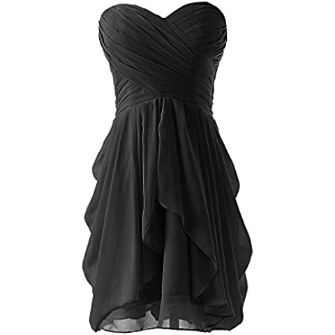 SaiDeng Las Mujeres Sin Tirantes Del Vestido De Noche Vestido De Novia De Gasa Plisada Vestido Negro