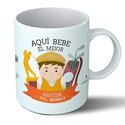 Planetacase Taza Desayuno Aquí Bebe el Mejor Golfista del Mundo Regalo Original Jugador Golf Deportes Ceramica 330 mL