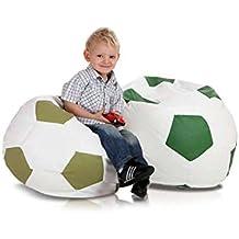 JUSThome Pelota de fútbol Small Puff Cojín Gigante de piel ecológica Color: Verde claro