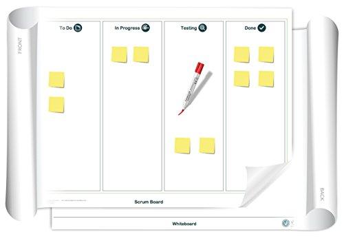 Vi-Board Scrum Board/Whiteboard: beidseitig beschreib- & abwischbares mobiles Whiteboard, einroll- & wiederverwendbar, Vorderseite: Scrum Vorlage, Rückseite: Whiteboard, Größe: ca. 85 x 118 cm Große Flip-chart