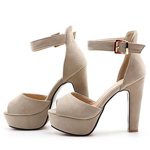 TAOFFEN Damen Fashion Peep-toe Blockabsatz Sandalen Party Dress Shoes Apricot