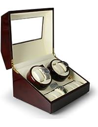 Klarstein Old Marshall caja para relojes (capacidad para 10 relojes, soportes extraíbles de cuero, motor silencioso, gran pantalla LCD, hecho a mano) - burdeos