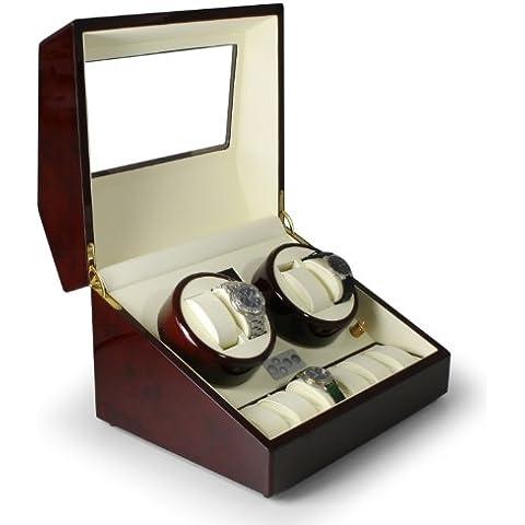 Klarstein Old Marshall caja para relojes (capacidad para 10 relojes, soportes extraíbles de cuero, motor silencioso, gran pantalla LCD) -