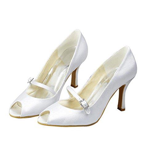 MINITOO , Damen Tanzschuhe, weiß - White-9.5cm Heel - Größe: 39 - Glitter Bow Flats Schuhe