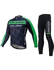Maillot de cyclisme avec pantalon Ensemble Lycra Tissu à lyre rapide à sec Ultraviolet résistant à manches longues à manches longues Ensemble à vélo Vêtements à vélo Maillot de bain Noir