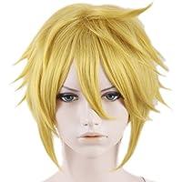 Guapo corto amarillo enlace de Xcoser Cosplay peluca para 2015Halloween