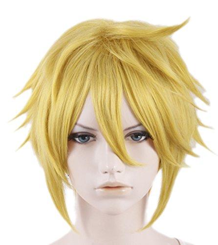 Halloween Kostüm LOZ Link Spiel Game Cosplay Perücke Wig Kurze Gelb Haar Zubehör für (Halloween Link Und Zelda Kostüme)