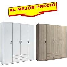 ARMARIO ROPERO DE 4 PUERTAS + 2 CAJONES COLECCIÓN MUNDOO,MEDIDAS 200x215 CM - OFERTAS DE HOGAR ¡AL MEJOR PRECIO!-DISPONIBLE EN VARIOS COLORES (Blanco)