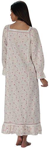 pourThe 1 for U 100% coton Longue robe de nuit - Martha - S-XXXXL Crème Vintage Rose