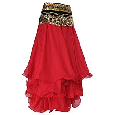 Phenovo Women Girls Ladies Stretchable Three-Layer Full Circle Belly Dance Skirt Costume Clothing Accessory Red