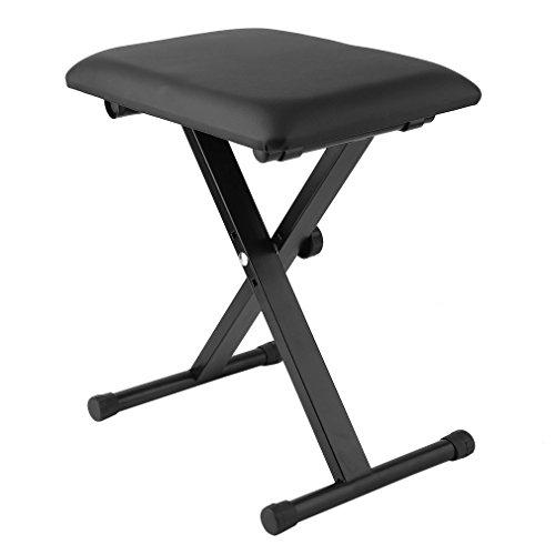 X-Rahmen, langlebiger Klavierhocker, höhenverstellbar, gepolsterter Sitz, bequemer Sitz, Klappstuhl, für Zuhause, Garten, Camping, Angeln, Klavierspielen -