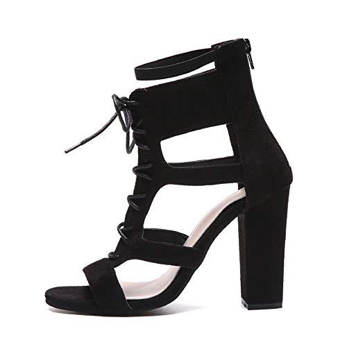 LANDFOX Frauen Stil Klar Transparent Schwarze Riemchen Sandalette High Heels Schuhe New Womens Damen Plattform Gladiator Sandalen Schnür Stiefel Schuh (42 EU, Rot) (34 EU, Schwarz)