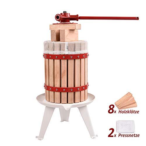WENHAUS Upgrade 6L Obstpresse inkl. 8 Stück Holzklötze Und 2 Ersetzbare Pressnetze, Manuelle Maischepresse Fruchtpresse Saftpresse (600002)