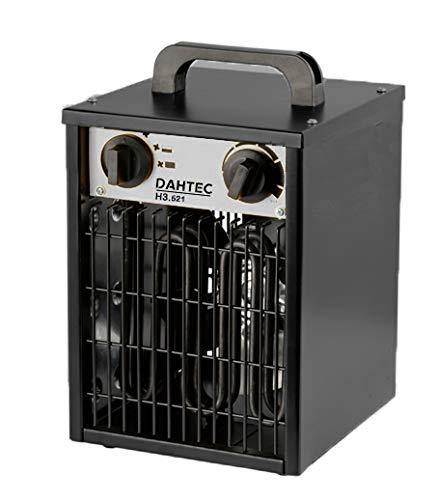 DAHTEC - H3.521 - Calefactor ventilador eléctrico 3kW 3000 Watt - 3 funciones ajustables, termostato...