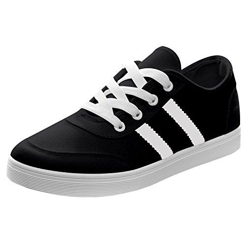 Sneakers Modo Oasap Com Black-1 Sreifenmustern E Lace-up