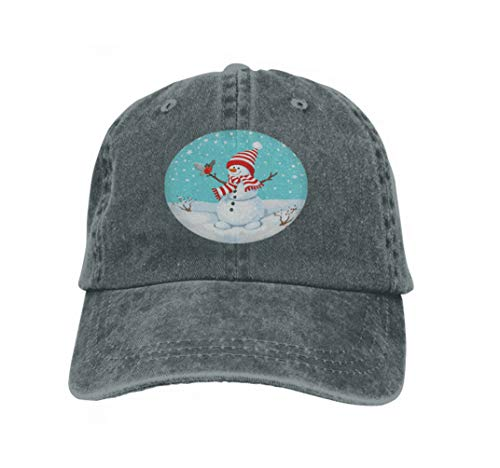 Xunulyn Classic Unisex Baseball Cap Adjustable Snowman Bird Greeting Cute Christmas Greeting Card Bullfinch Carbon
