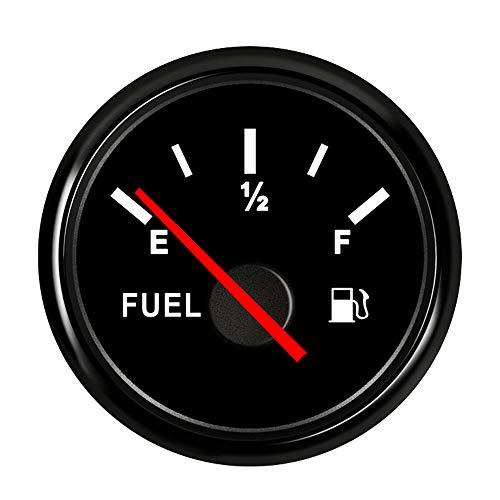 CT-CARID - Misuratore di livello del carburante, impermeabile, 52 mm, 0-190 ohm, indicatore del livello del serbatoio dell'olio, con retroilluminazione, per moto, auto, camion, barca, 9~32 V