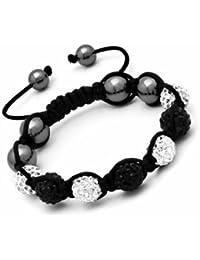 Bracelet Style Shamballa Unisexe Cristal/Hématite - Blanc et Noir - Ajustable