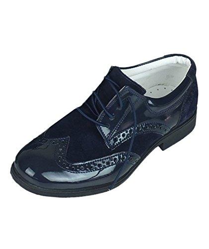 Sanfrancisco Flamingo Jungen Wildleder und Lack SchnürSchuhe in Marineblau Formelle Oxford Brogue Schuhe in Marineblau größe UK Youth 6, EU 39