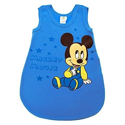 Baby- und Kinder- SOMMER-SCHLAFSACK ärmellos aus Baumwolle, UNGEFÜTTERT, Mickey Mouse, GRÖSSE 56, 62, 68, 74, 80, 92, mit Druck-Knöpfen und Bein-Freiheit Size 80, Farbe Blau