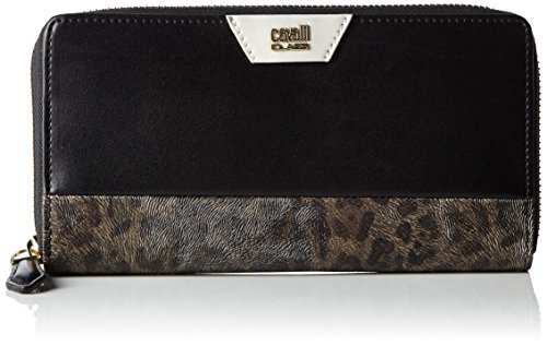 Roberto Cavalli Class Signature Collection portafoglio pelle 19 cm black offwhite