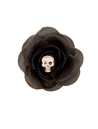Haarklammer schwarze Rose mit Totenkopf keine Größe