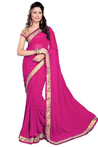 Damen Designer Sari mit Ungesteckt Oberteil/Top Mirchi Fashion Gedruckte (Woman Roten Kostüm Kleid Pretty)