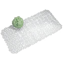 mDesign Non Slip Shower Mat - Anti Slip Bath Mat for Showers or Bathtubs - Tub Mat with Suction Cups for Easy Installation and a Secure Hold - Stylish Design in Transparent PVC