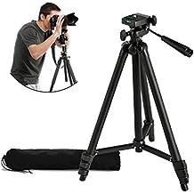 Trípode universal y ligero para cámara Y&M (TM), portátil, pequeño y compacto, perfecto para viajar, hecho de aleación de aluminio y con funda de transporte para teléfono móvil, cámara réflex digital y soporte para grabadora de vídeo