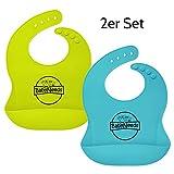 2er Set Lätzchen mit Auffangtasche aus weichem Silikon für Babys und Kinder, wasserdicht, abwaschbar, spülmaschinengeeignet, fleckenunempfindlich, Babylätzchen mit Auffangschale (2, Blau und Grün)