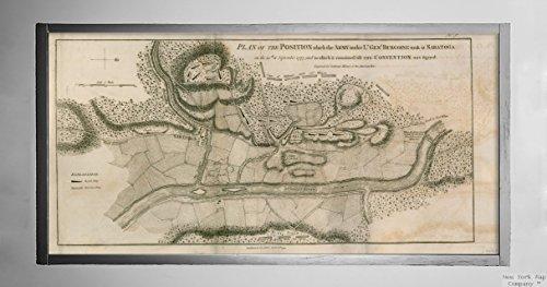 1793 Karte New York Saratoga - Plan der Position, die die Armee unter Lt. Genl. Burgoine Took at Historischer Vintage-Look Nachdruck fertig zum Rahmen