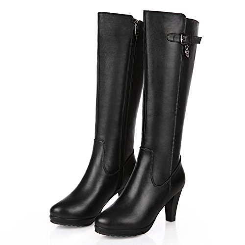 FLYRCX Invernale da donna tacco in pelle con tacco alto e antislittamento stivali di velluto,38 38