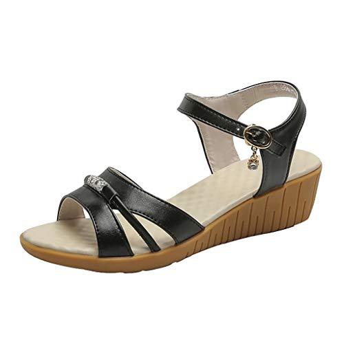 PAOLIAN Femmes Sandales Summer Wedge Platform 2020 Chaussures Femmes Talon Moyen Élégant Pas Cher Femmes Sandales Robe De Soirée Bout Ouvert Chaussures Dame Mère Casual Confortabl