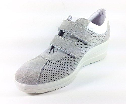Chaussures Femme en daim Casual avec Velcro et de chaussures de sport gris 52111fabriqué en italie Gris
