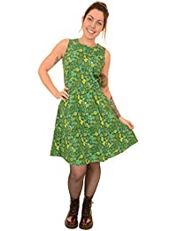 24c8a38ce546 Run   Fly Ladies Kitsch Blooming Green Cacti Cactus Retro A Line Dress