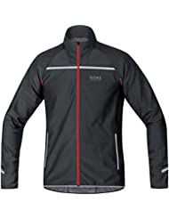 GORE RUNNING WEAR 3 in 1 Herren Soft Shell Laufjacke, Jersey oder Weste, Abnehmbare Ärmel, GORE WINDSTOPPER, MYTHOS 2.0 WS SO Zip-Off Light Jacket, Größe S, Schwarz/Neon Gelb, JWMYLM