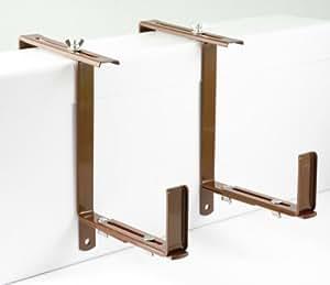 menz blumenkastenhalter 1 paar braun f r blumenk sten verstellbar von 14 bis 21 cm breite. Black Bedroom Furniture Sets. Home Design Ideas