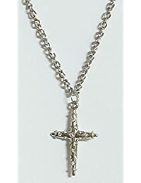 DollsofIndia Stone Studded Cross Pendant With Chain - Stone And Metal (CK54-mod) - Silver Color