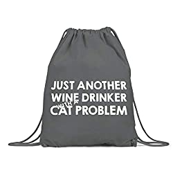 BLAK TEE Just Another Wine Drinker With A Cat Problem Slogan Organic Cotton Drawstring Gym Bag Grey