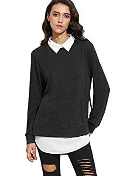 ROMWE Damen 2-in-1 Langarm Bluse mit Kontrastfarbe Herbst Winter Langarmshirt Pullover