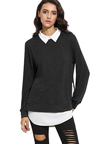 ROMWE Damen 2-in-1 Langarm Bluse mit Kontrastfarbe Herbst Winter Langarmshirt Pullover Schwarz L