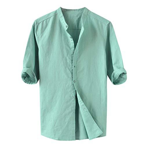 JYJM Herren Sommer Atmungsaktiv Bluse Baumwolle und Leinen Fünf-Punkt-Ärmel Strandhemd Bequem Dünn und Leicht Knopf Im Freien Freizeitkleidung -